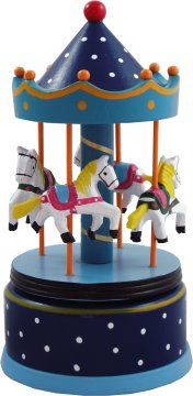 Blue Wooden Musical Carousels From Magical Music Boxes Uk